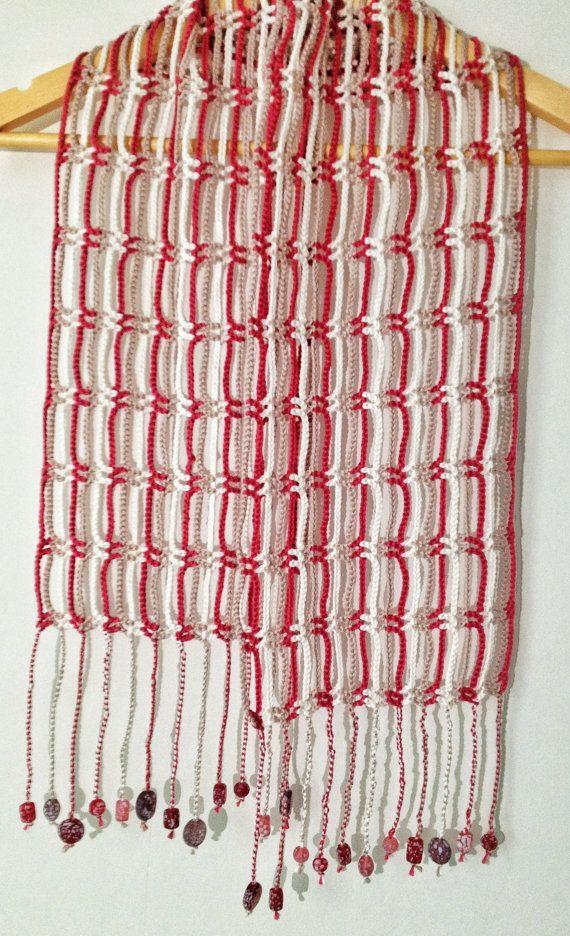 Plum And Earth Beaded Crochet Summer Scarf Summer Scarves Crochet