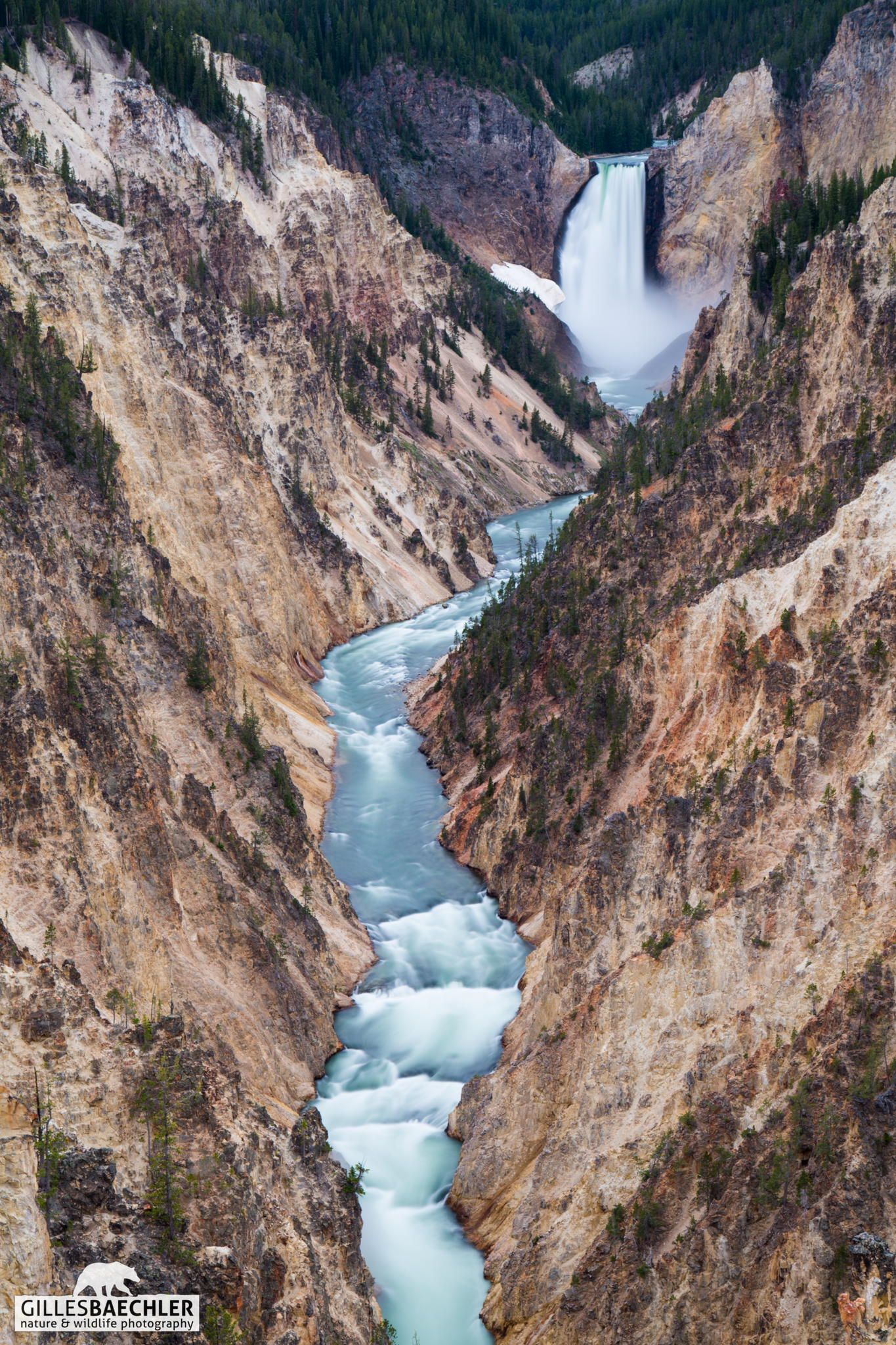 Yellowstone lower falls by Gilles Baechler. Lower Falls of
