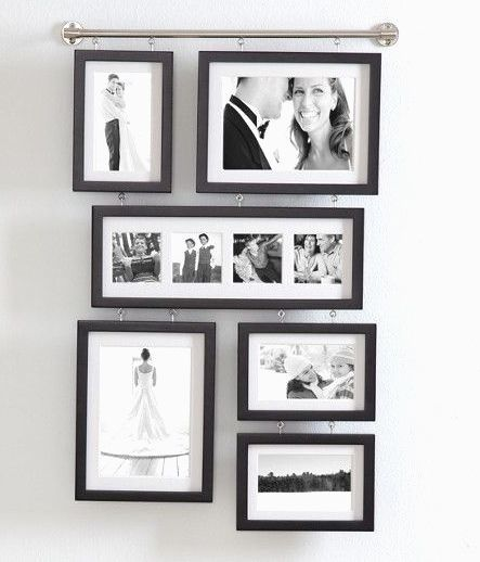 Wall Gallery Frame Set Hall Matted Frames Photo Collage Black Wood Metal Bar Redenvelope Contemporary