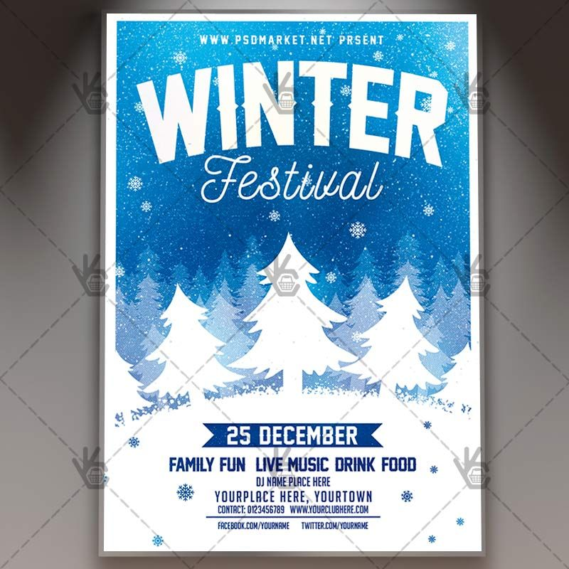 Winter Festival - Seasonal Flyer PSD Template #christmas - winter flyer template