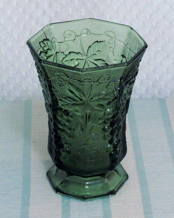 Green Glass Anchor Hocking Vintage Vase Grape Vine Pattern By Hellonikita 15 00 Vintage Vases Vintage Green Glass Antique Glassware
