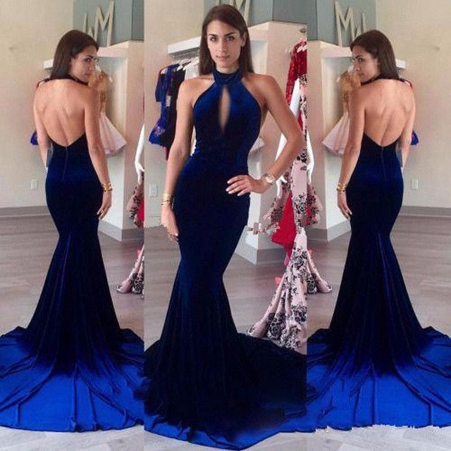 f1cf112ab92 Sexy Backless Velvet Prom Dresses 2017 Halter Keyhole Front Vintage Royal  Blue Mermaid Long Formal Party Gowns vestido longo
