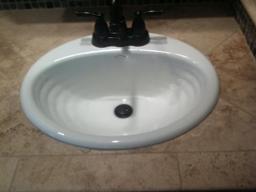 KOHLER Ellington Drop-In Cast Iron Bathroom Sink in White with ...