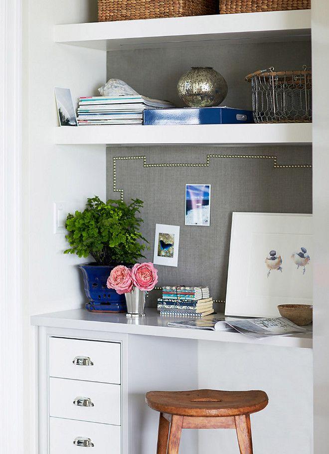 Kitchen desk with memo board. Kitchen desk with grey linen memo board and open shelves. #Kitchendesk #memoboard #openshelves Andrew Howard Interior Design