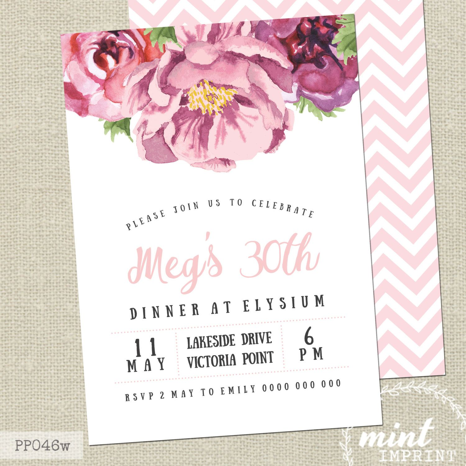Peony Invitation / White and Pink Floral Printable Invitation / Peony Invitation / 30th Adult Birthday / Engagement Baby Shower Invitation #Pink #Wedding #PinkWedding #Paper