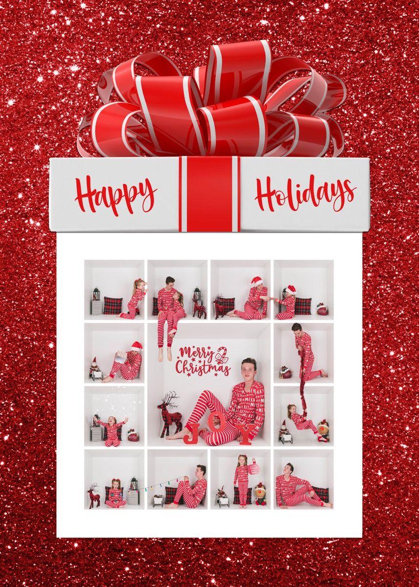 Happy Holidays 9 Box Card Digital Template Greeting Card Template Card Box Happy Holidays