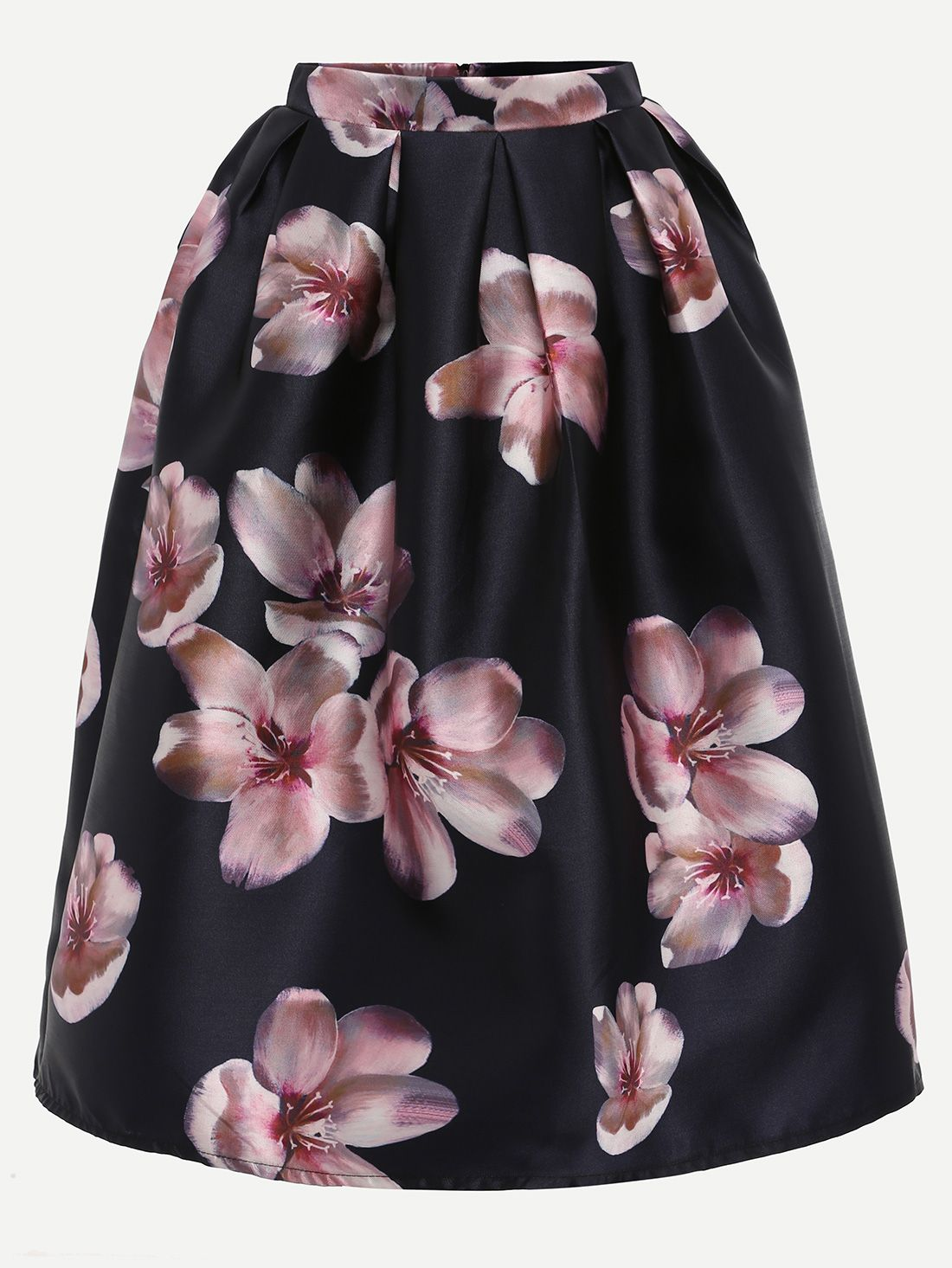 Shop Flower Print Box Pleated Midi Skirt - Black online. SheIn offers Flower Print Box Pleated Midi Skirt - Black & more to fit your fashionable needs.
