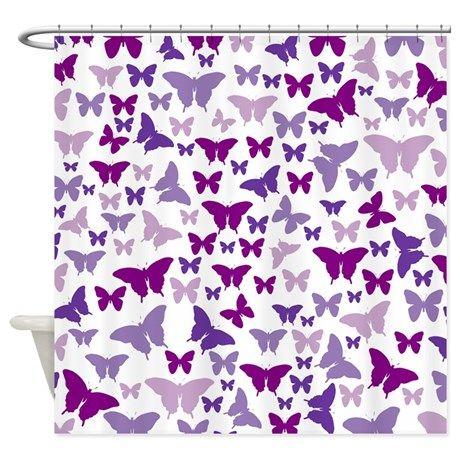 Pretty Purple Butterflies Shower Curtain | Butterfly shower curtain ...