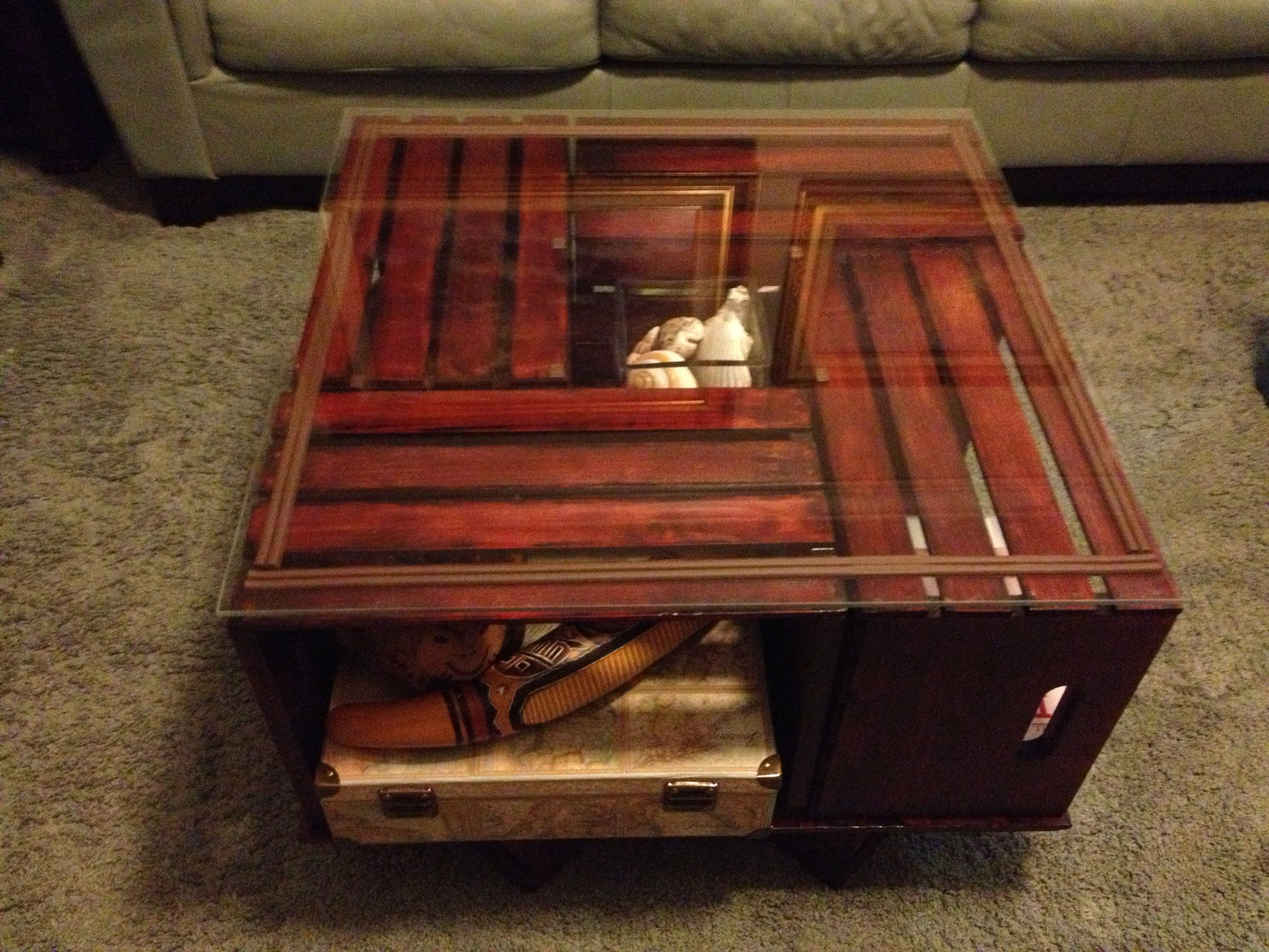 Crate Coffee Table With A Glass Top I Would Put Glass Over It Just To Make It More Stable And With Teenagers Ea Crate Coffee Table Coffee Table Wood Projects [ 2448 x 3264 Pixel ]