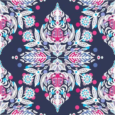 Pastel Folk Art Pattern in soft navy, pink, mauve & white Art Print