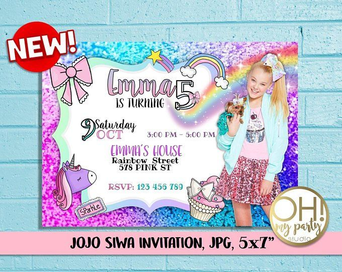 Jojo Siwa Birthday Invitation Jojo Siwa Party Jojo Siwa Birthday