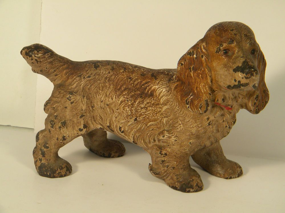 Antique Hubley Cast Iron Original Cold Paint Cocker Spaniel Dog Door Stop Dog Door Stop Cocker Spaniel Dog Hubley