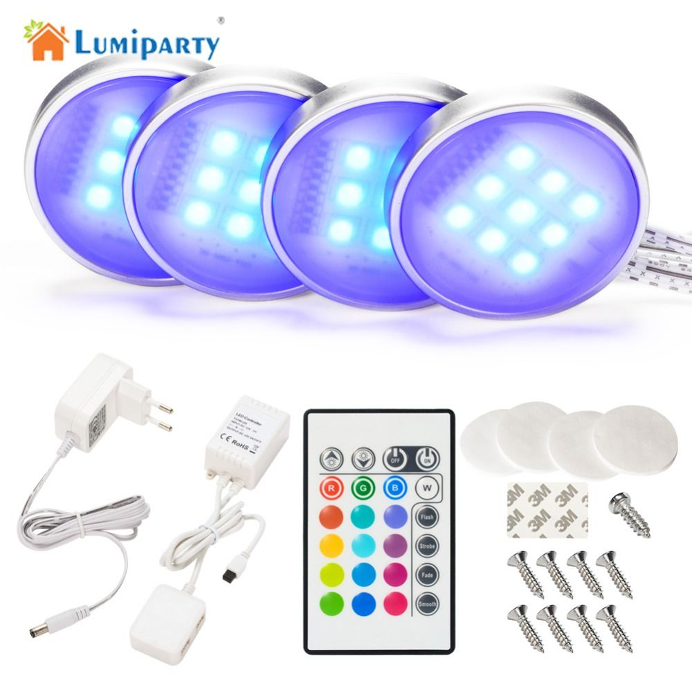 Lumiparty Rgb Rf Remote Control Dimmable Led Under Cabinet Light Downlight Spotlights With Fo Led Under Cabinet Lighting Under Cabinet Lighting Closet Lighting