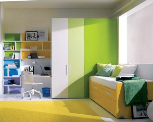 Blue and lime green bedroom style for children and teenager daily