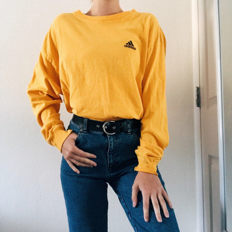 f151583eb4d Long Sleeve Crop Top · Mustard Yellow · Mom Jeans · Look what I just found  on Depop ✋ https://depop.app.