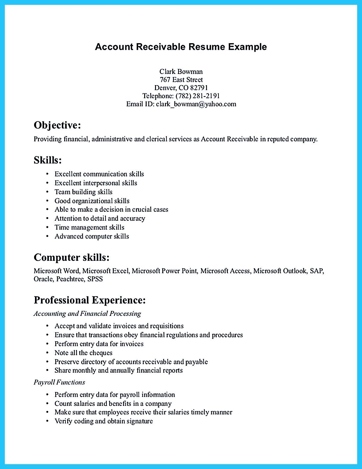 Accounts Receivable Resume Accounts Receivable Resume Presents Both Skills And Also The