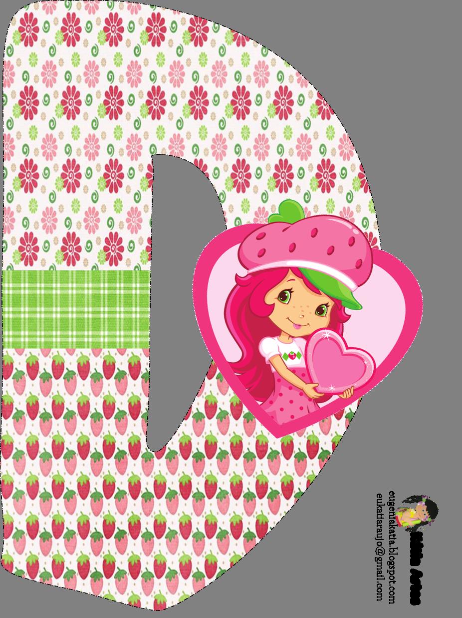 Alfabeto de Strawberry Shortcake con fresas y flores. | Oh my ...