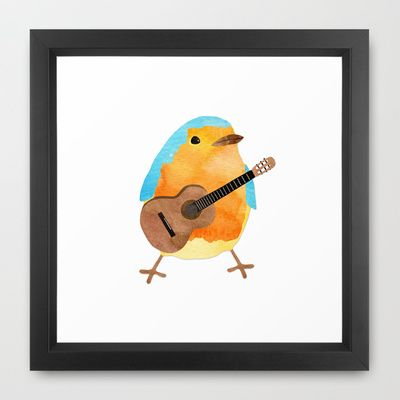 music bird Framed Art Print by elvia montemayor - $36.00