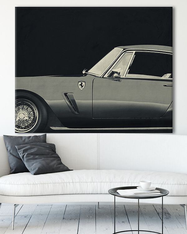 Interior Idea with Ferrari 250GT SWB Berlinetta 1957 b&w on canvas | Fine Art Imagery by Jan Ketelee