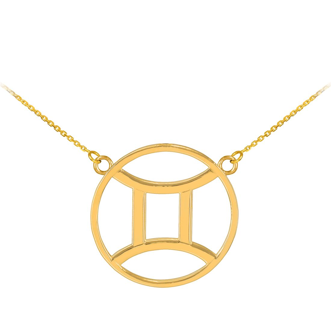 K Polished Gold Gemini Zodiac Sign Necklace Gemini zodiac