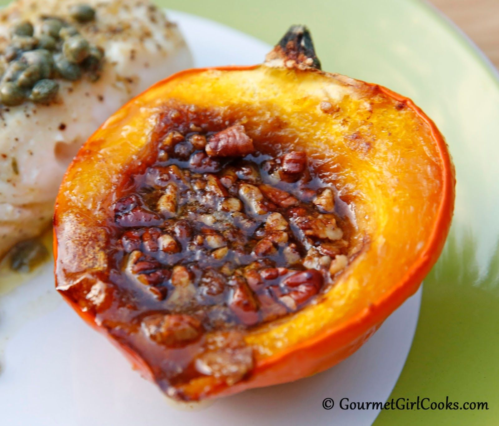 Baked Acorn Squash W Butter Brown Sugar Pecans Served W Pan