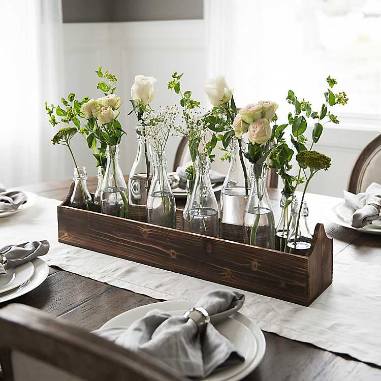 Glass Bottle Vase Runner Set From Kirkland S Table Centerpieces For Home Dining Table Centerpiece Dining Room Table Decor