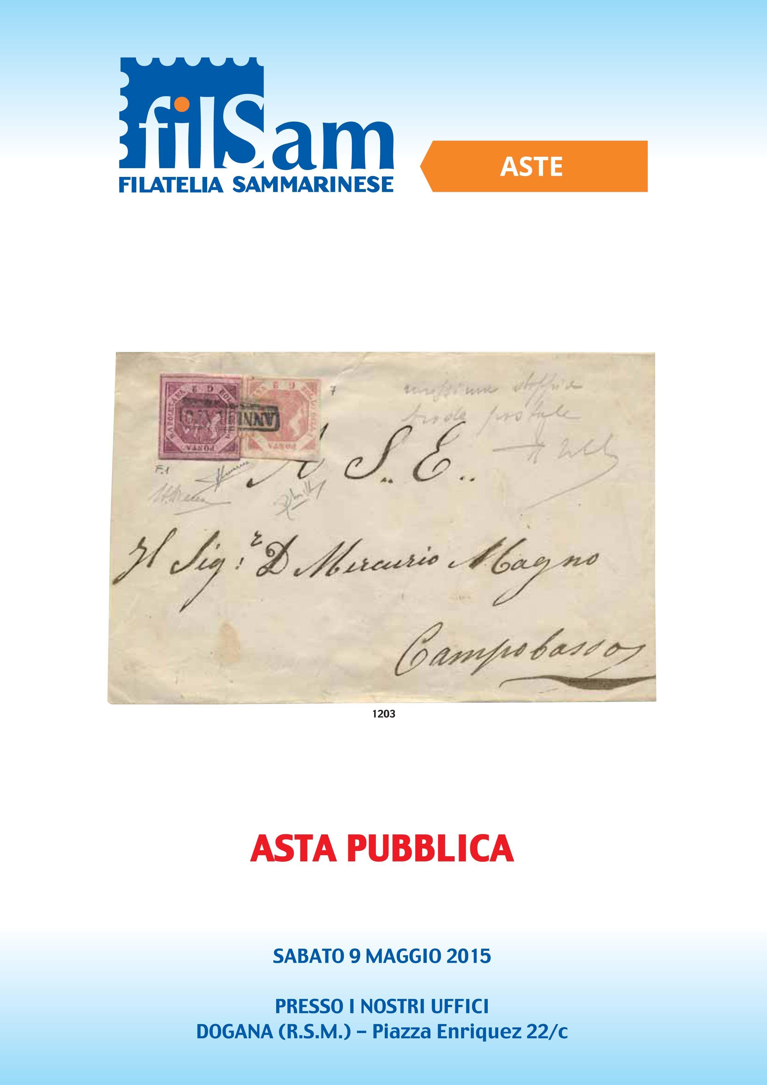 Catalogo Asta Pubblica 9 Maggio Filsam Francobolli