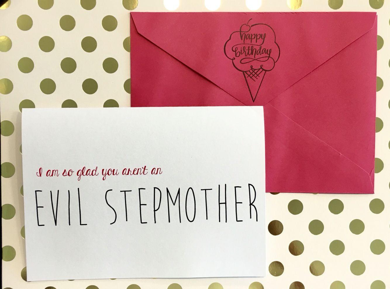Handmade greeting cardevil stepmother birthday card handmade