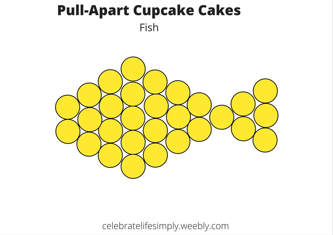 Fish Pull-Apart Cupcake Cake Template   Cupcakes cake tamplete ...