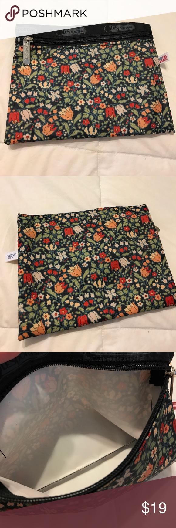 New Lesportsac Cosmetic Bag Fl Print 8x6 One Zipper Bags Cases