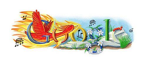 Google logo commemorating Igor Stravinsky, famous composer.