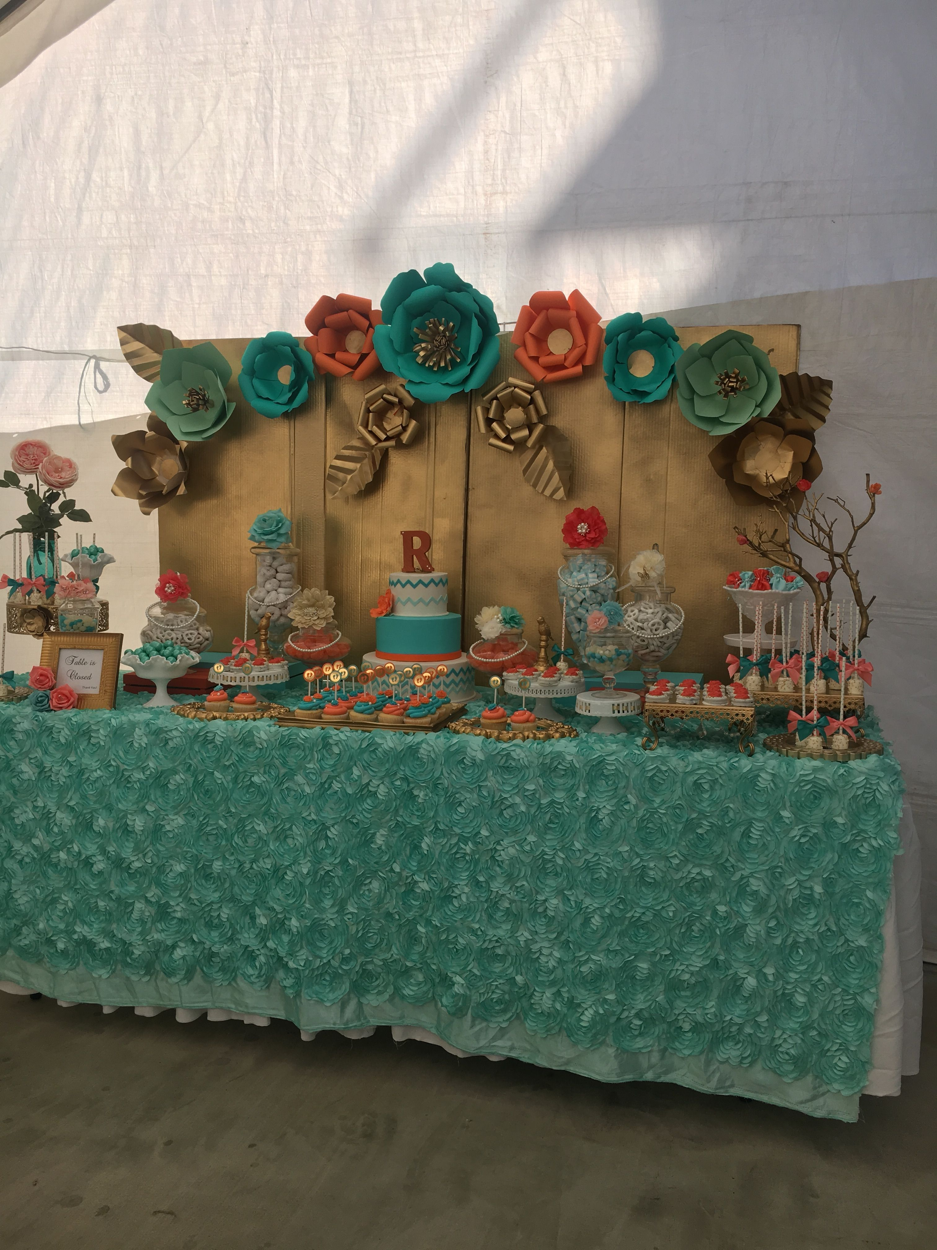 Corral Gold And Mint Green Candy Table And Paper Flower Backdrop Paper Flowers Paper Flower Backdrop Flower Backdrop