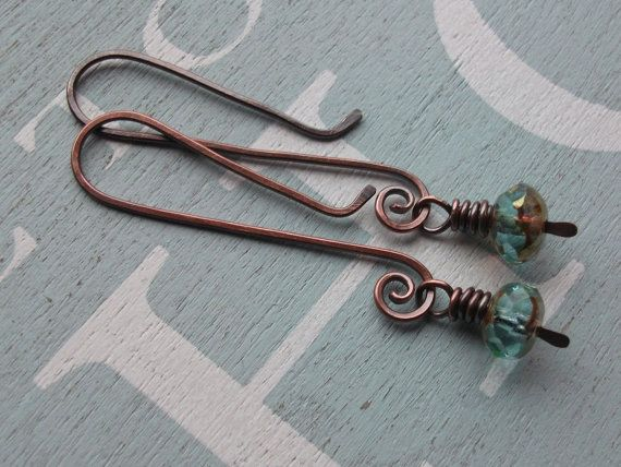 Czechs Glass and Copper Artisan Earrings  by by byNaturesDesign, $14.00