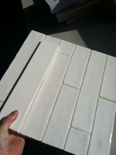 2x10 White Subway Tile Hand Crafted Texture