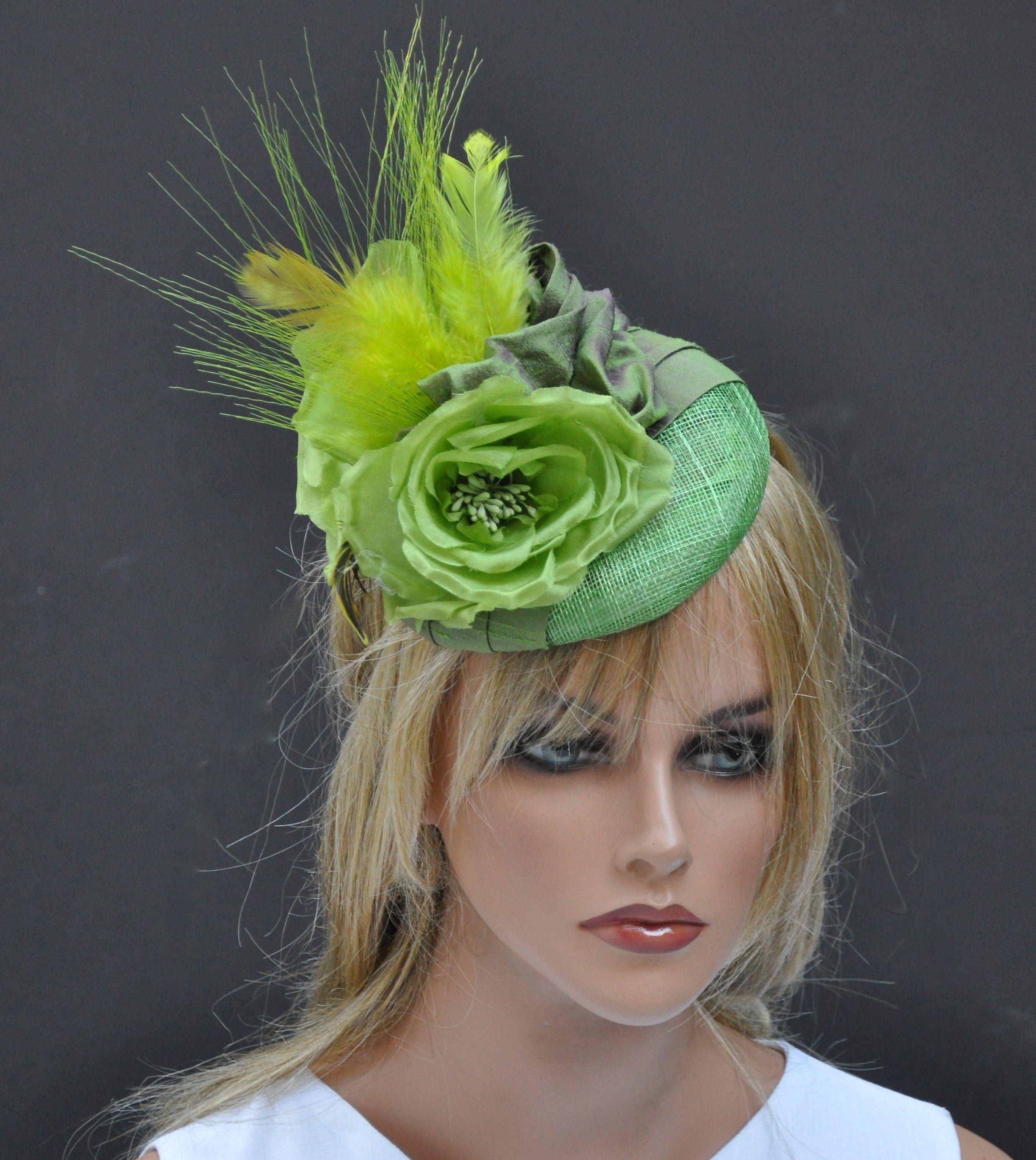 d399d3757f0e3 Kentucky Derby Fascinator Hat, Wedding Hat, Green Fascinator, Ladies Green  Hat, Ascot Hat, Formal Hat