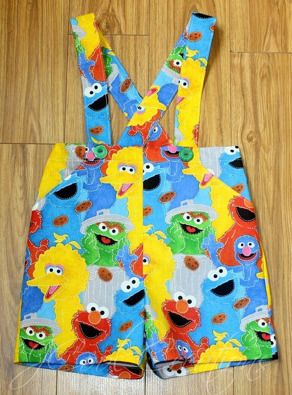 Boys Suspender Shorts Sesame Street Elmo Cookie Monster Oscar