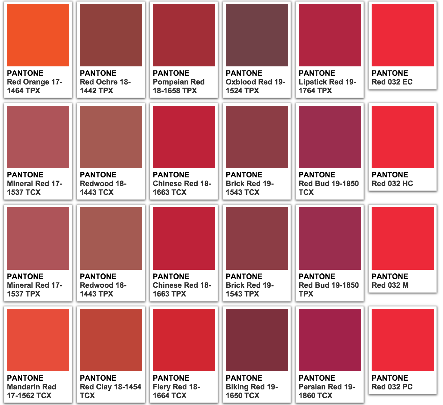 image result for red pantone colors color names