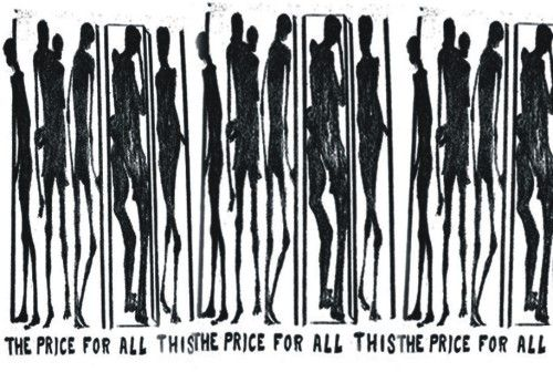 a printmaking piece emphasizing  social issues. A great example of spomewhat open ended art. Could be about body image and power of media or it could be about poverty and starvation of marginalized groups