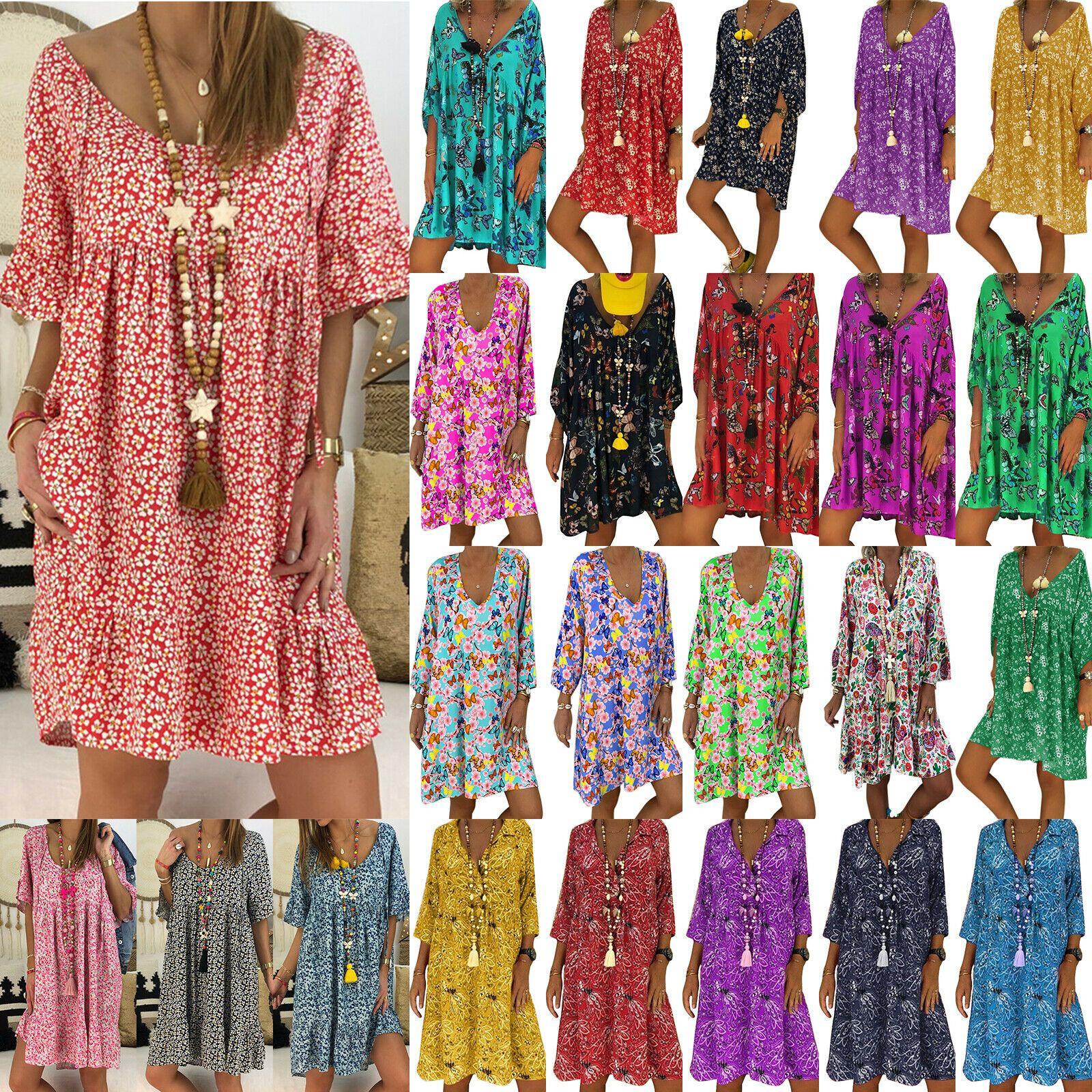 kleidung & accessoires de damen boho sommer minikleid