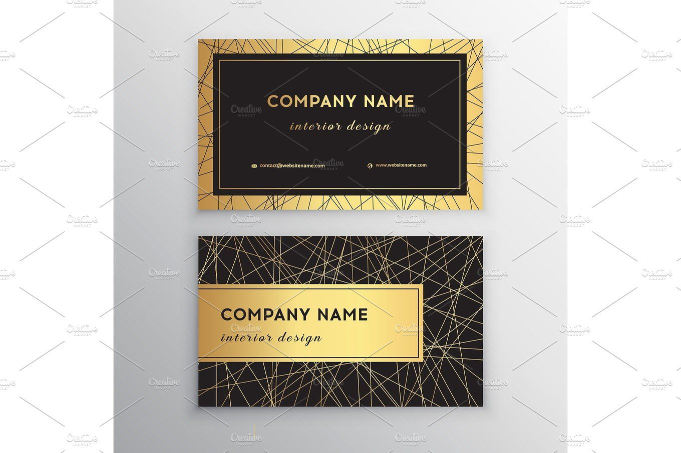 Luxury Business Card Gold And Black Horizontal Business Card Template Design For Personal Or Business Use With Front And Back Side Letterpress Business Card Design Luxury Business Cards Letterpress Business Cards