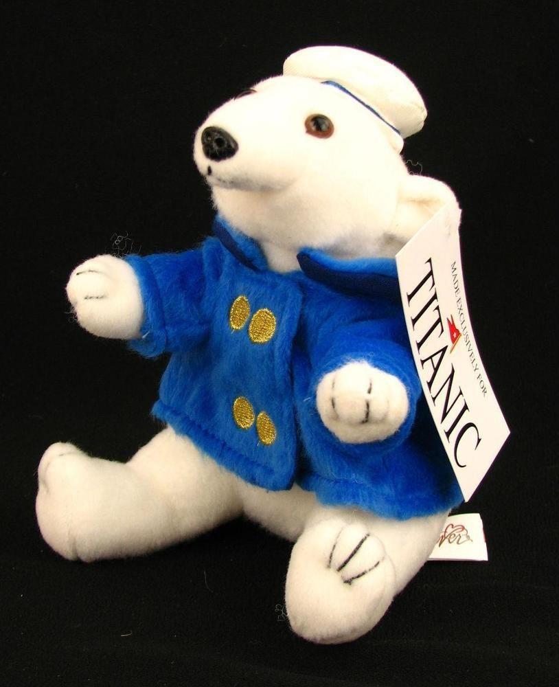 "New White Plush Teddy Bear Polar, The Titanic Bear Nautical Outfit 7"" Seated #BestEverPlush"