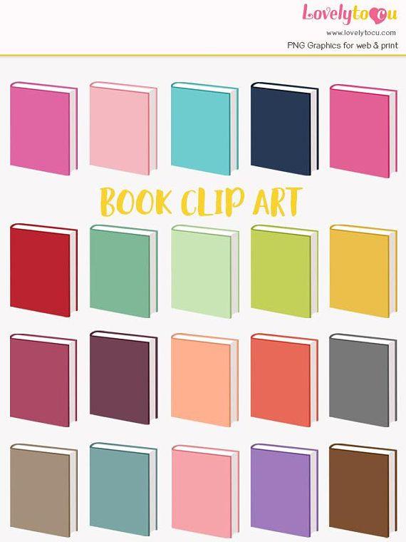 Book rainbow clip art collection 20 shades blank mockup hard