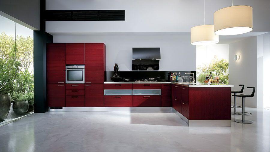 Cucina rossa moderna 06   Kitchen remodeling cost   Pinterest ...