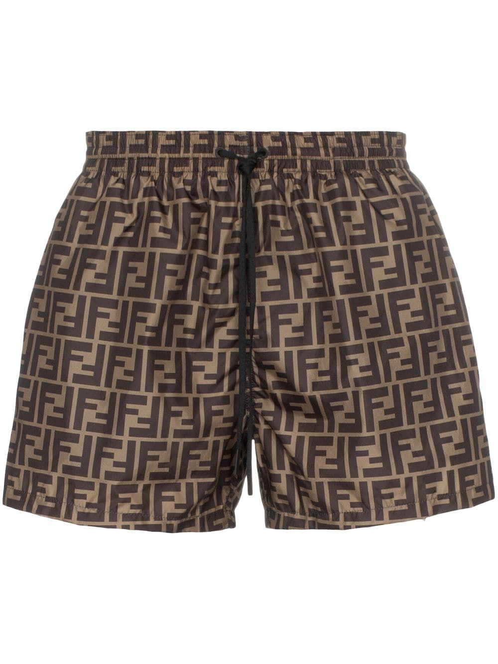 154053b1b4 FENDI FENDI FF LOGO PRINT SWIM SHORTS - BROWN. #fendi #cloth | Fendi ...