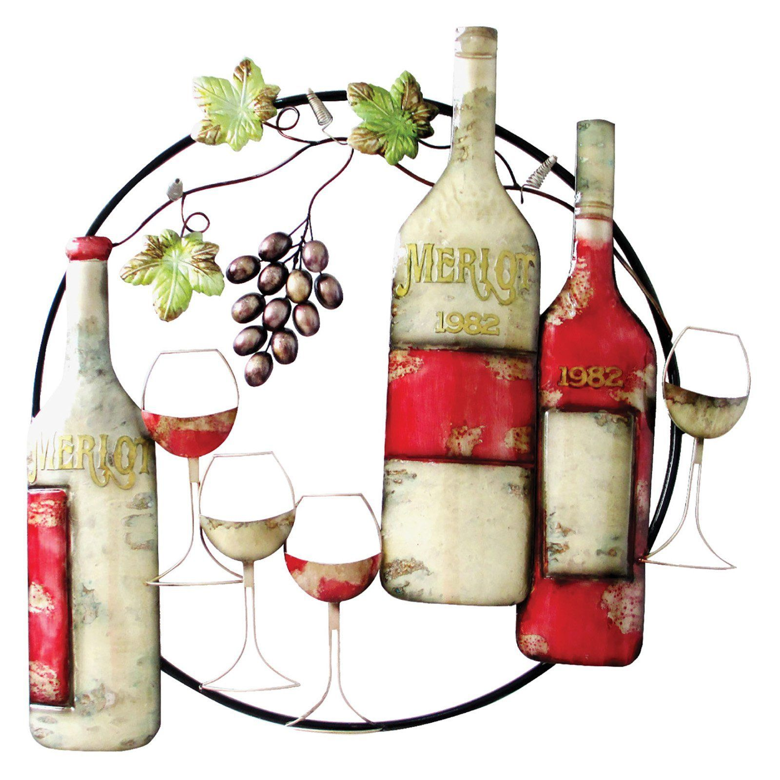 Home source industries grapevine and wine wall sculpture