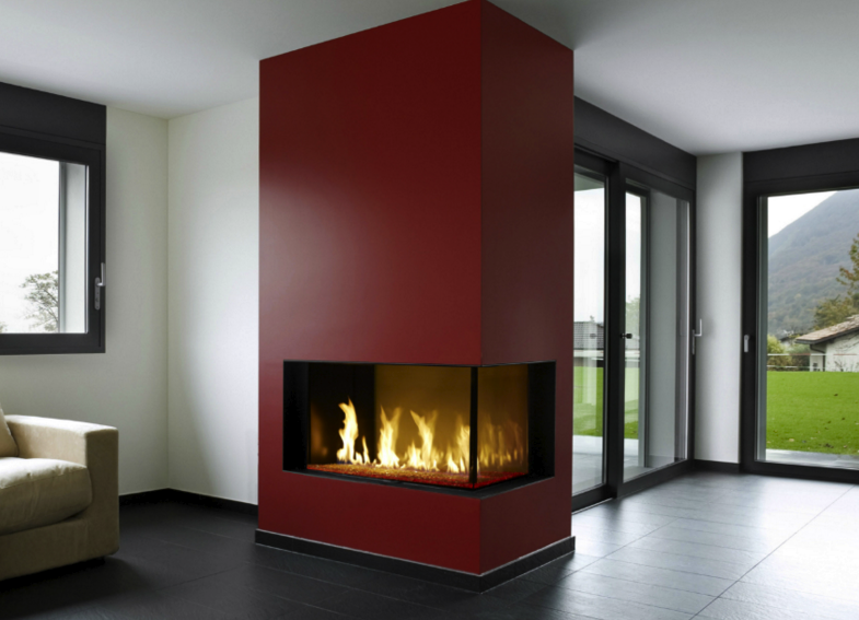 The Davinci Custom Linear Right Corner gas fireplace is an ideal  contemporary fireplace for your home - The Davinci Custom Linear Right Corner Gas Fireplace Is An Ideal