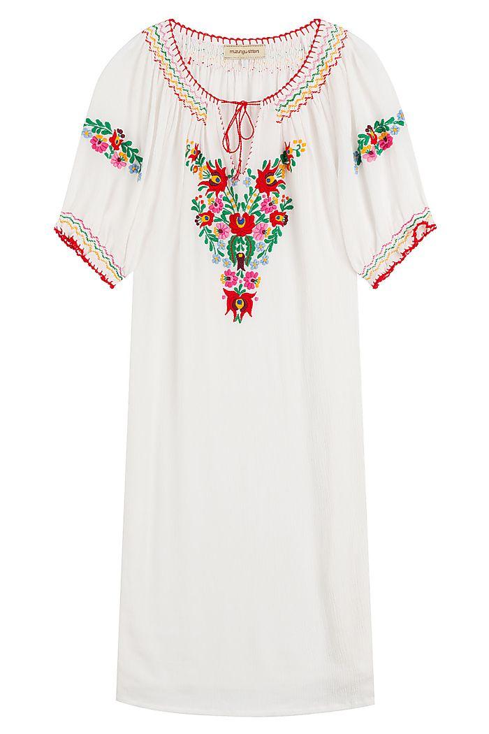 Besticktes Tunika-Kleid aus Baumwolle detail 0