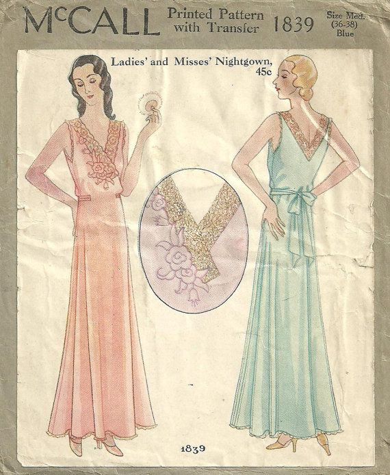 McCall 1839 / Vintage 1930s Sewing Pattern And by studioGpatterns ...