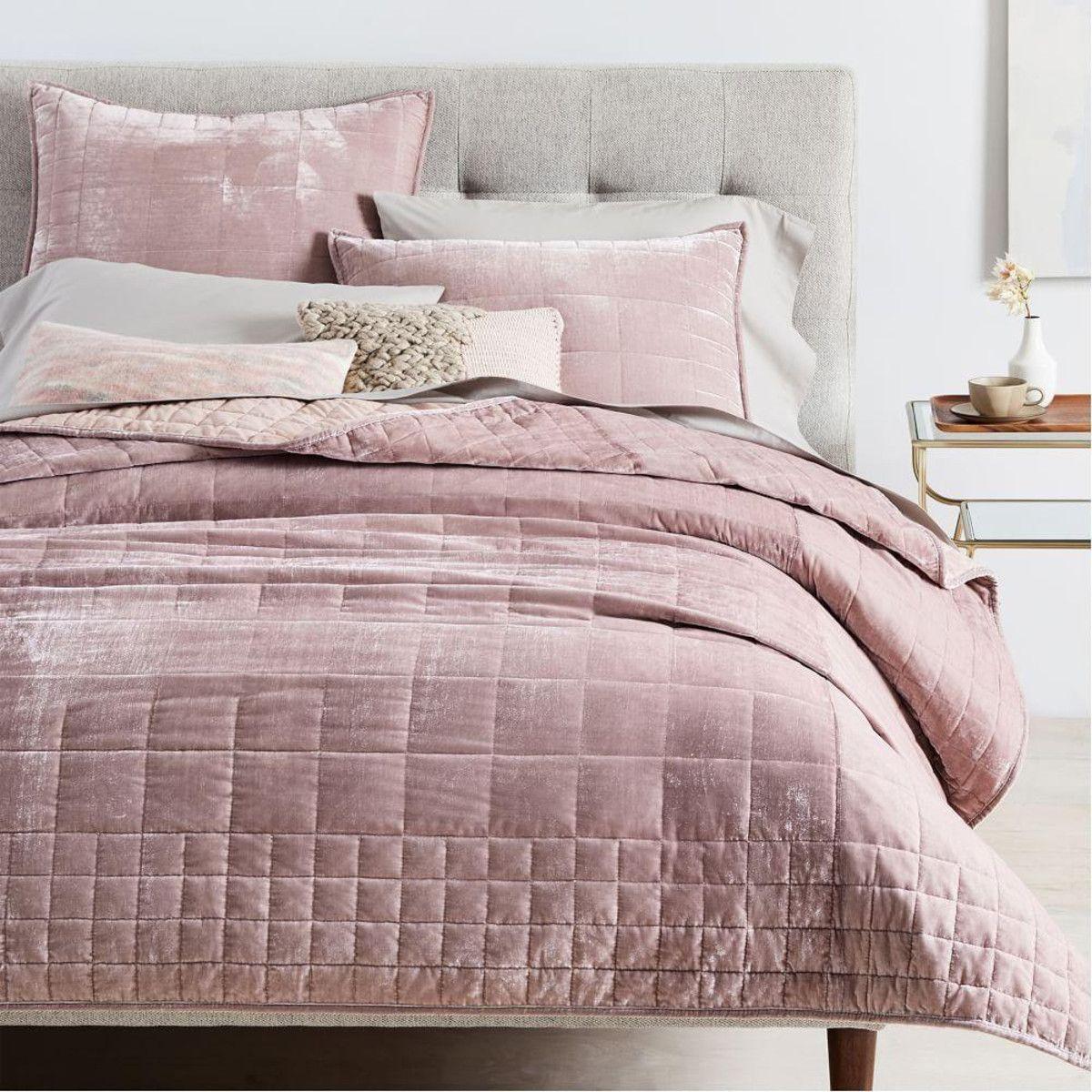 Lush Velvet Coverlet + Pillowcases Dusty Blush Bed