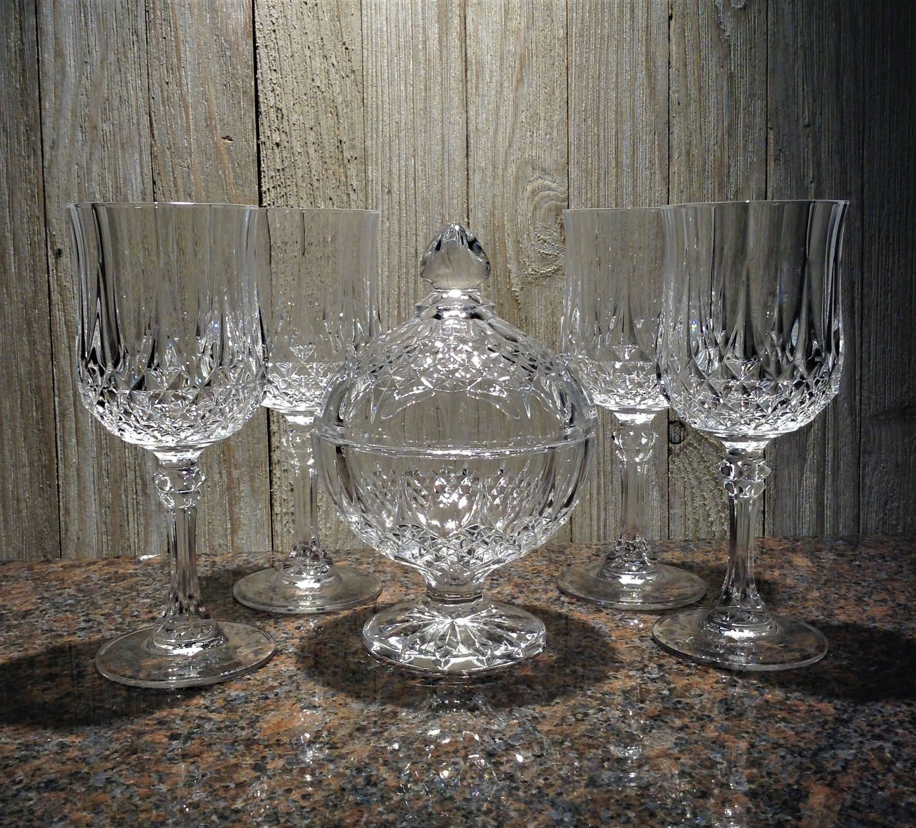 French Crystal Wine Glasses Candy Dish Set Of 4 Longchamp Etsy Crystal Wine Glasses Crystal Stemware Vintage Wine Glasses
